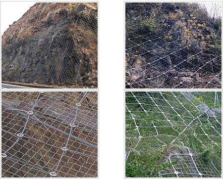 Chain mesh fabric and wire rope nets combined system